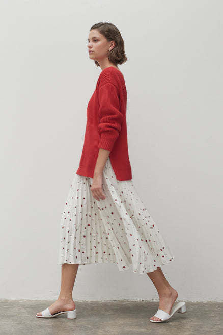 Ivory Strawberry Field Silk Skirt
