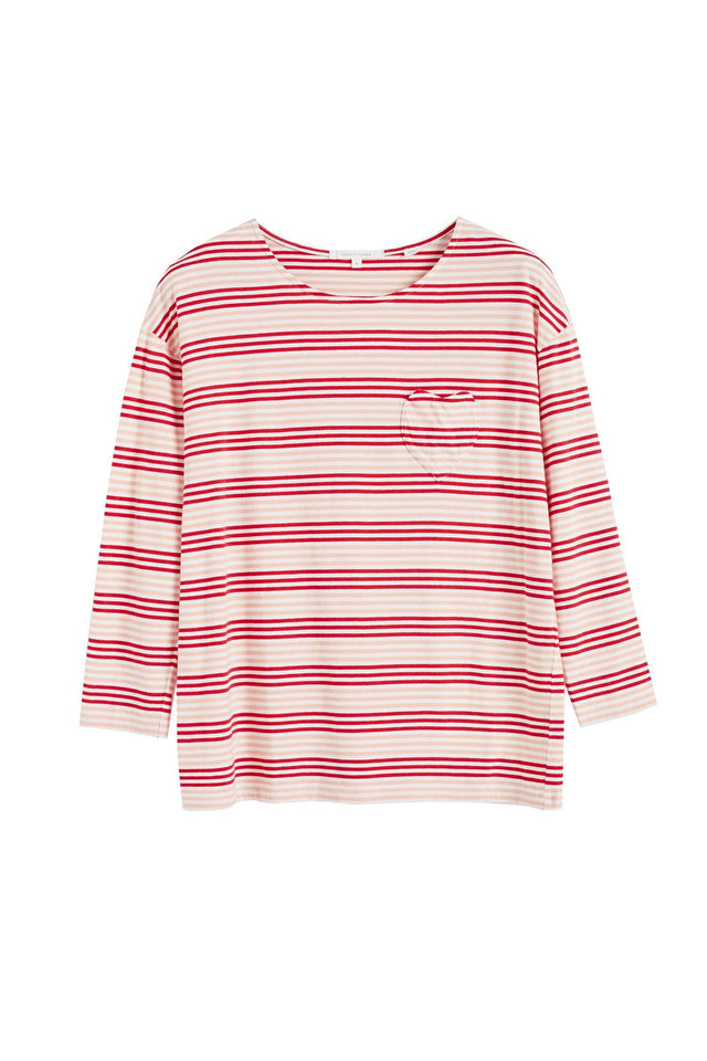 Red Striped Heart 3/4 Sleeve Shirt image 2