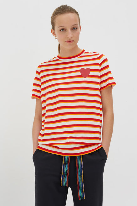 Red Bamboo Jersey Striped Heart T-shirt