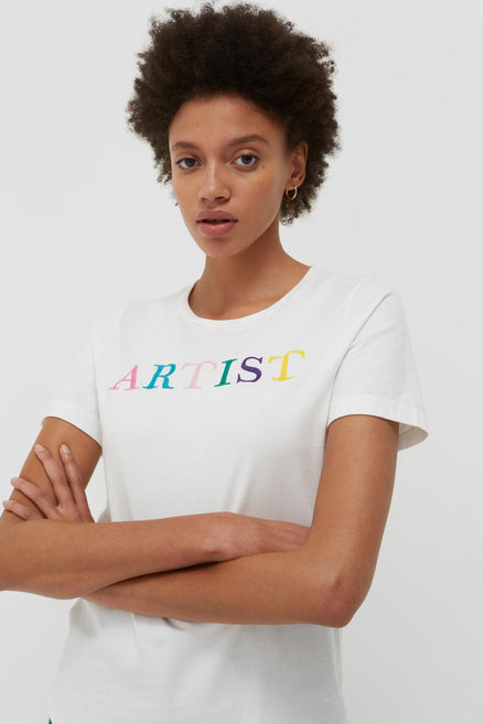 model shot of white-artist-cotton-t-shirt multicolour embroidery, an update on a classic. From Chinti & Parker