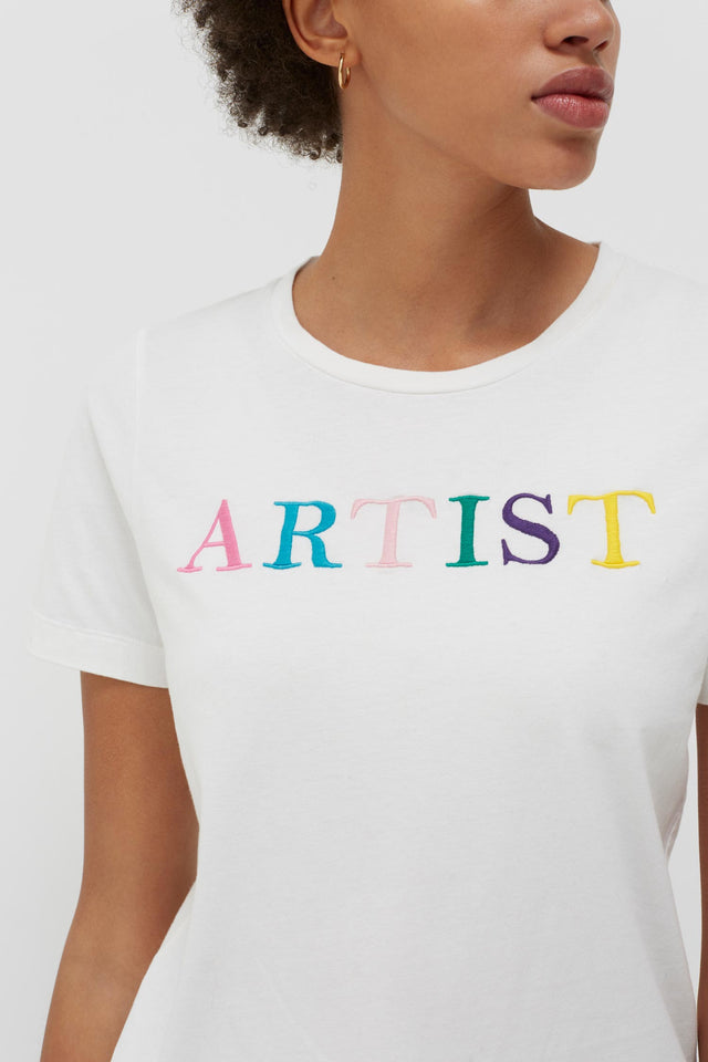 White Artist Cotton T-Shirt image 5