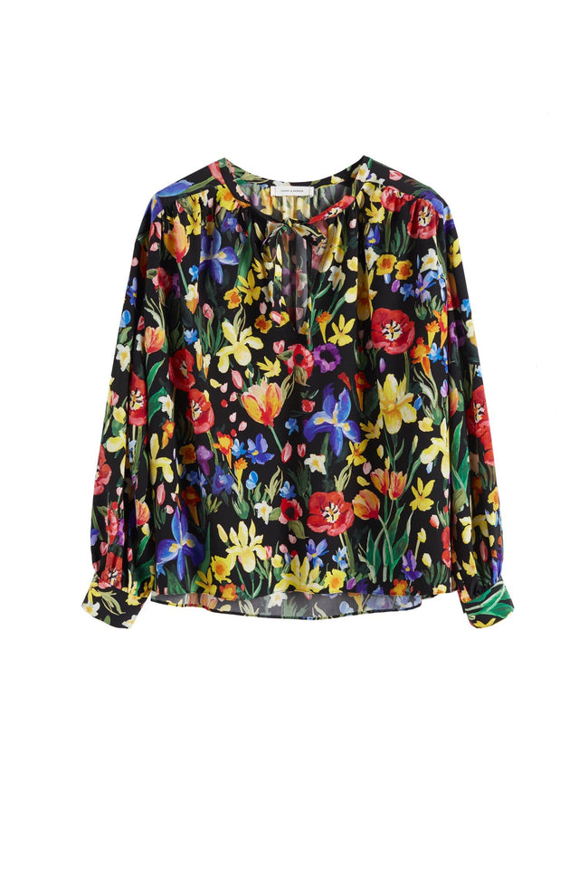 Black Charleston Floral Print Silk Blouse image 2