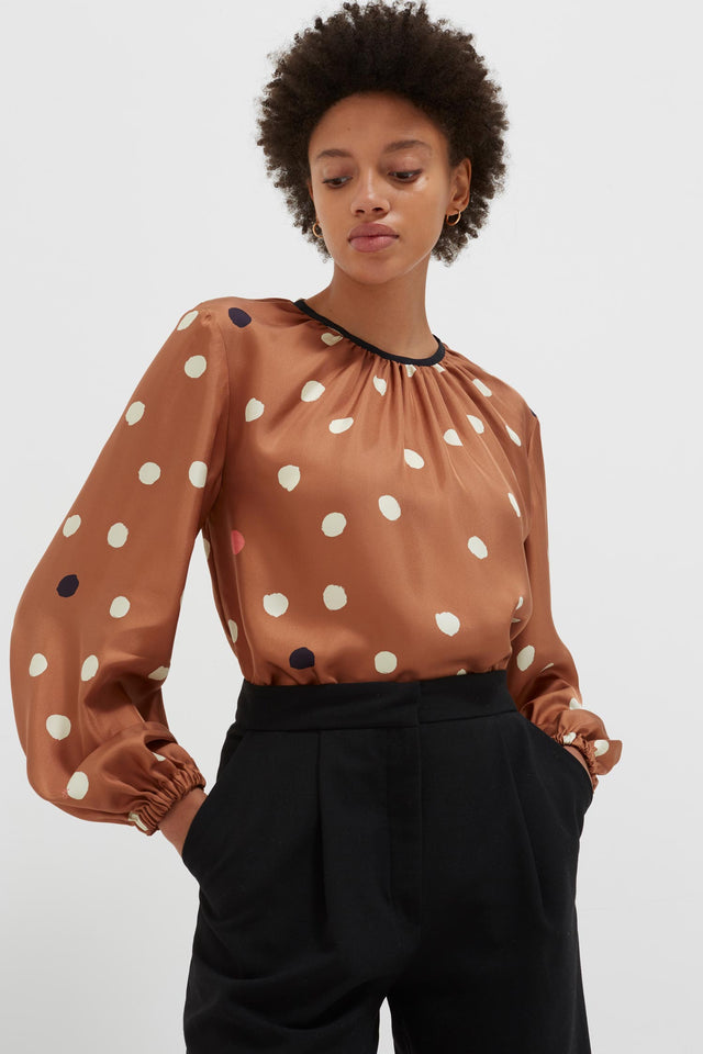 Ginger Painted Spot Silk Blouse image 1