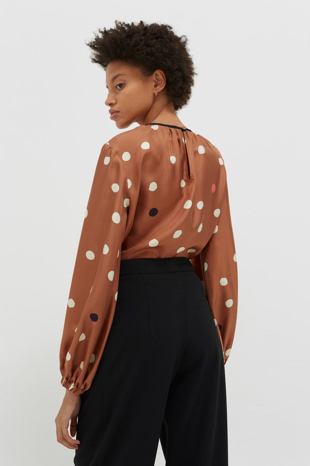 Ginger Painted Spot Silk Blouse image 5