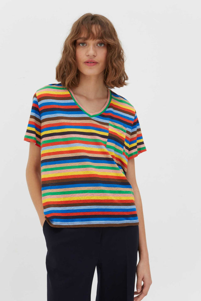 Multicoloured Ribbon Stripe Linen T-Shirt image 1