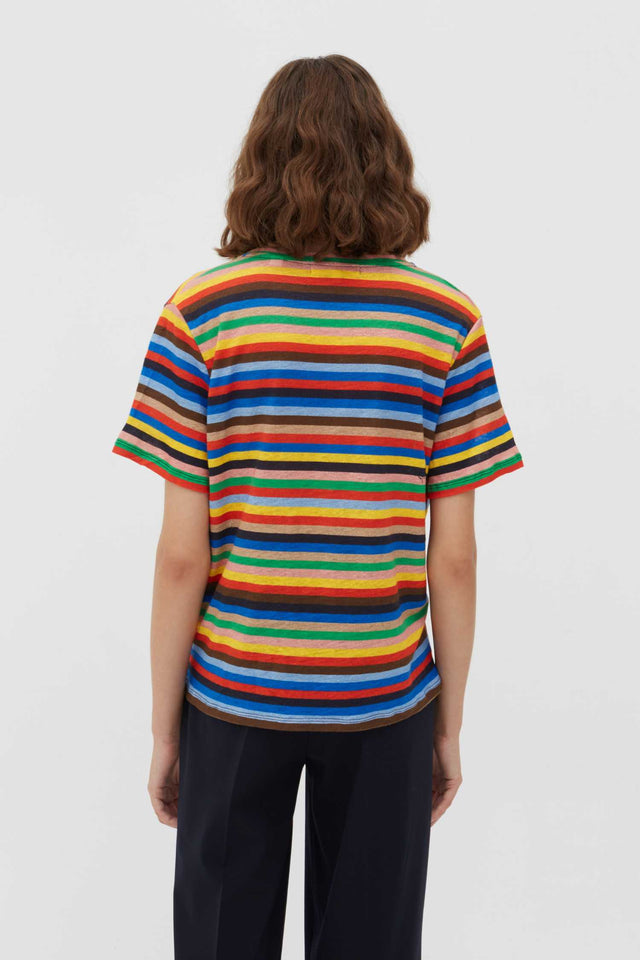 Multicoloured Ribbon Stripe Linen T-Shirt image 3