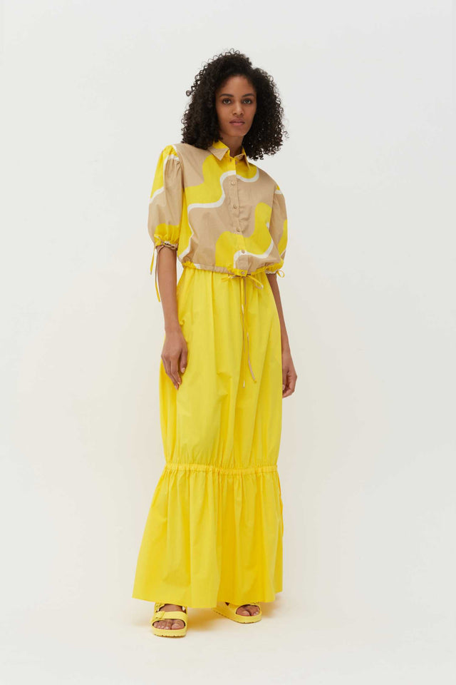 Yellow Wave Cotton-Poplin Drawstring Blouse image 3