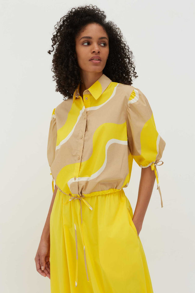 Yellow Wave Cotton-Poplin Drawstring Blouse image 1
