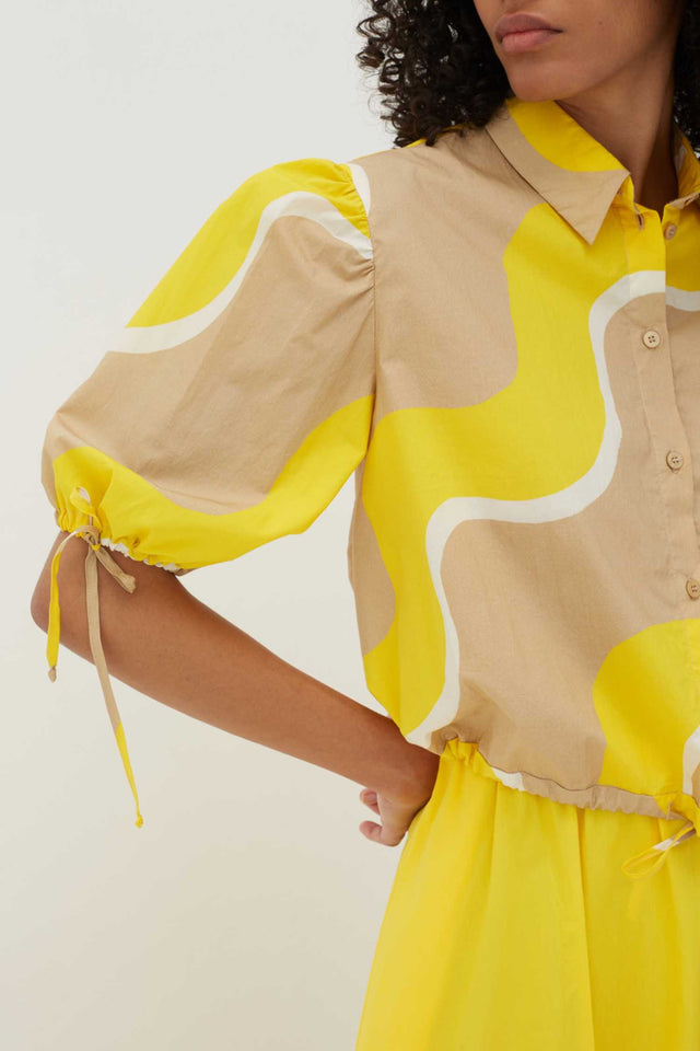Yellow Wave Cotton-Poplin Drawstring Blouse image 5