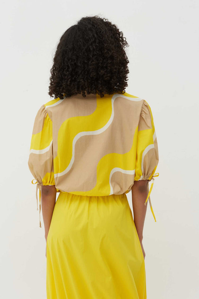 Yellow Wave Cotton-Poplin Drawstring Blouse image 4