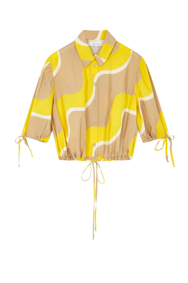 Yellow Wave Cotton-Poplin Drawstring Blouse image 2