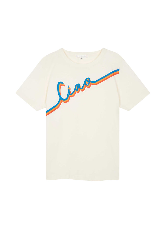 Cream Ciao Slogan Cotton T-Shirt image 2