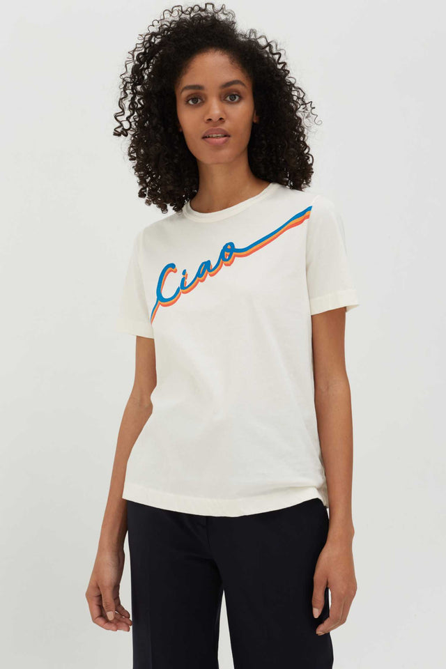 Cream Ciao Slogan Cotton T-Shirt image 1