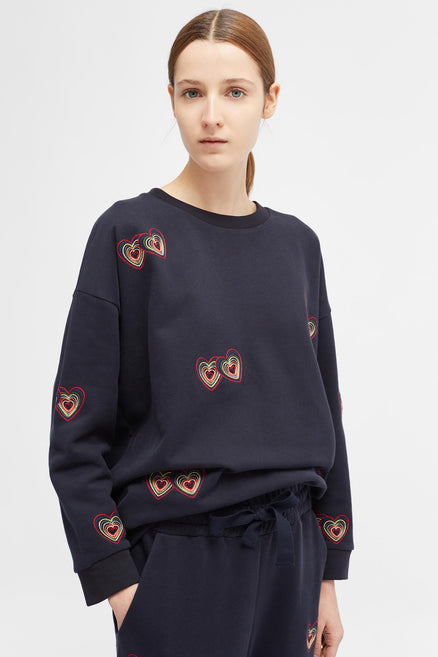 Navy Twin Heart Sweatshirt