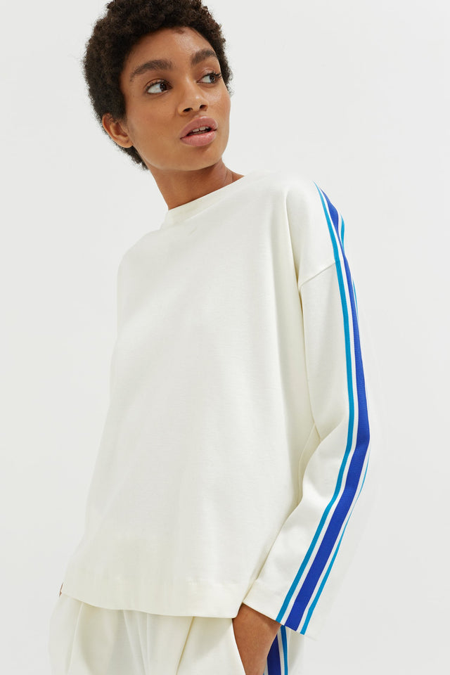 Off White Open Back Brushed Cotton Sweatshirt image 3