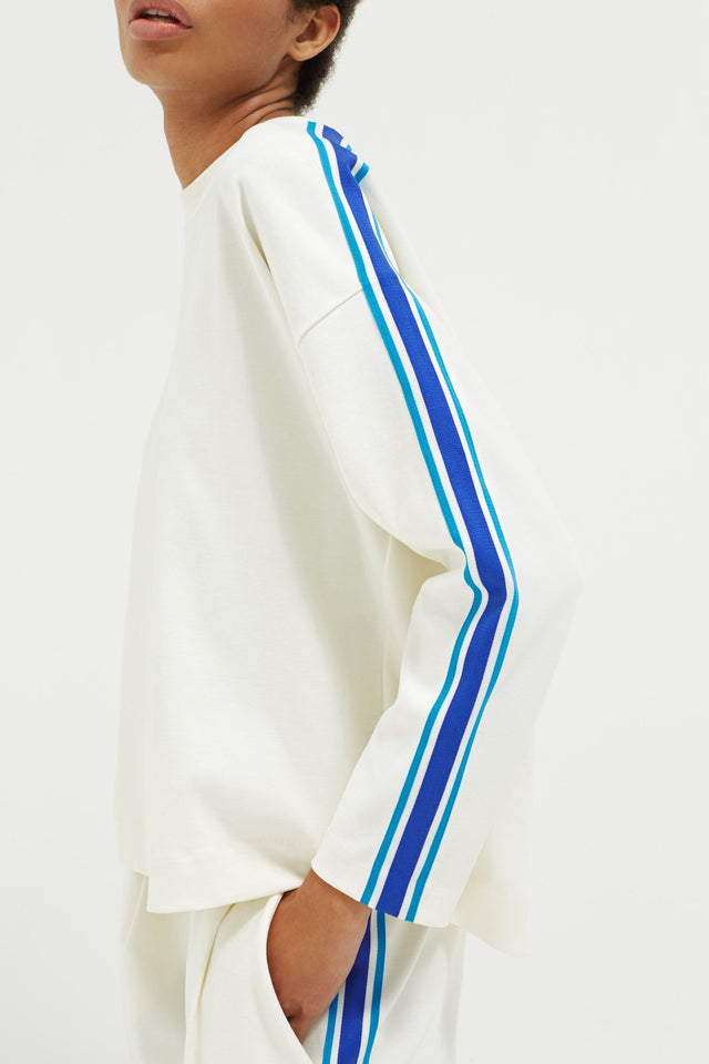 Off White Open Back Brushed Cotton Sweatshirt image 6