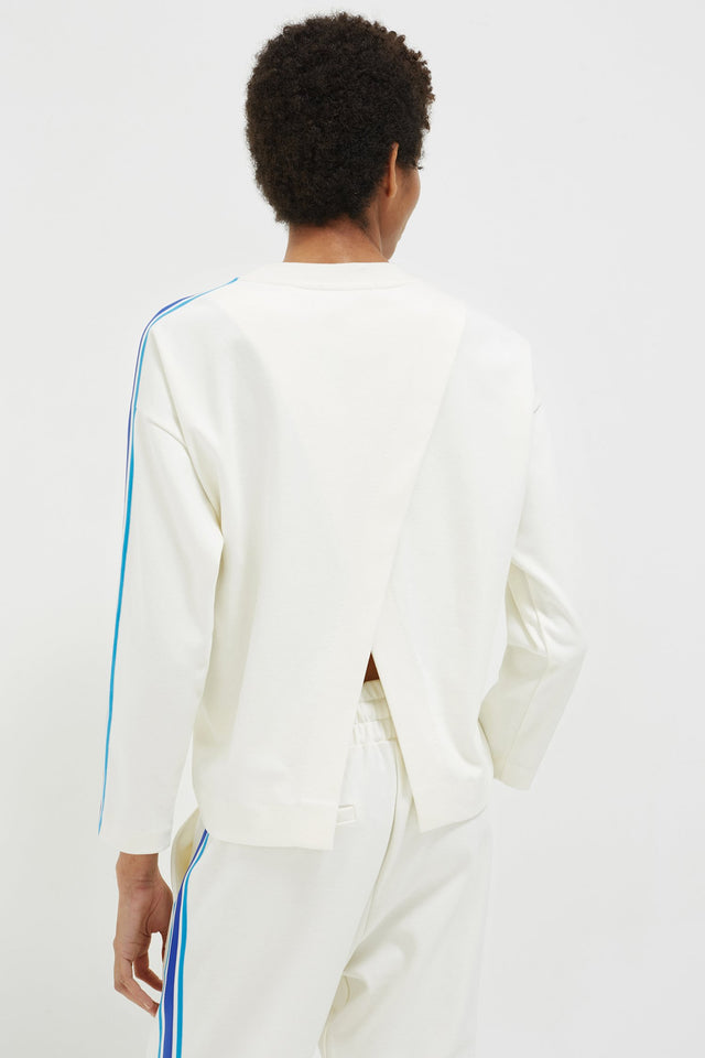 Off White Open Back Brushed Cotton Sweatshirt image 4