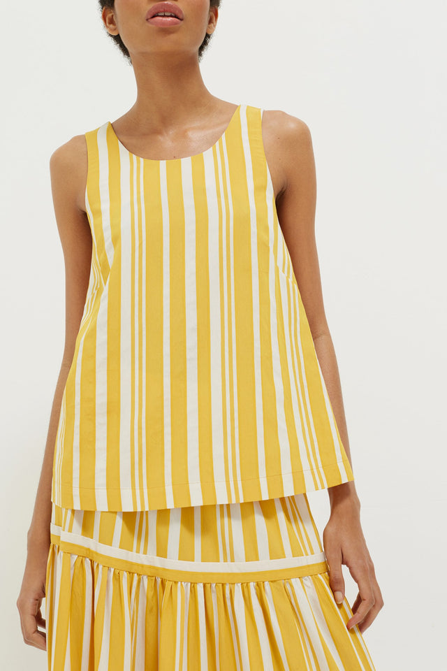 Yellow Striped Parasol Tie Back Top image 5