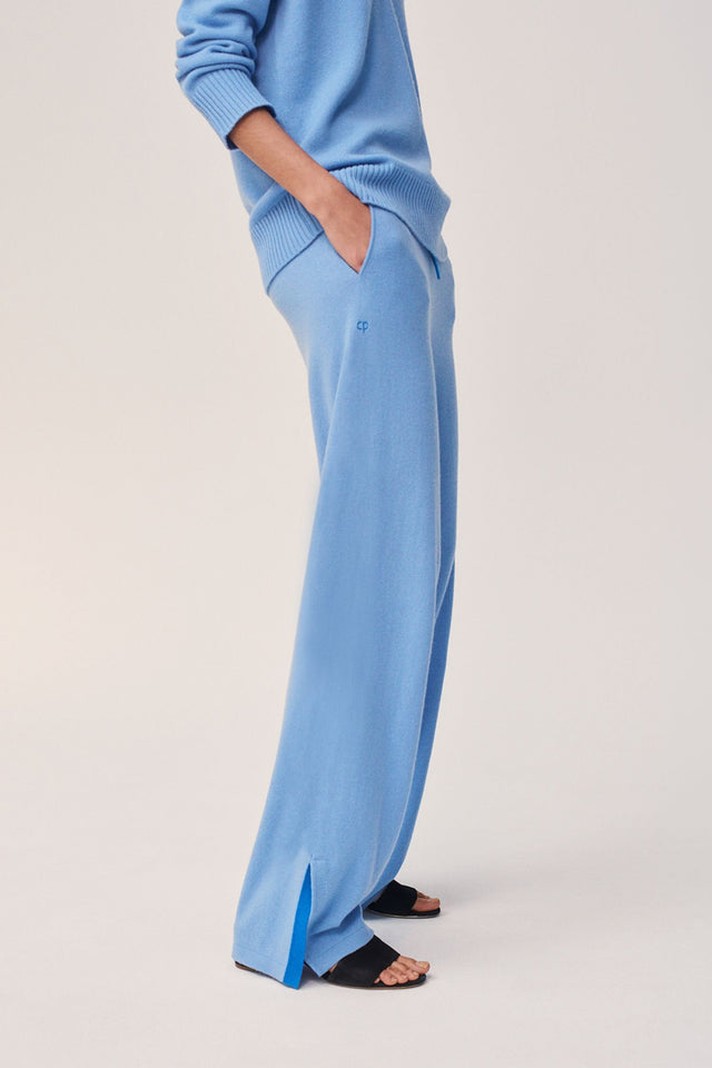 Sky-Blue Side Split Wool-Cashmere Track Pants image 1
