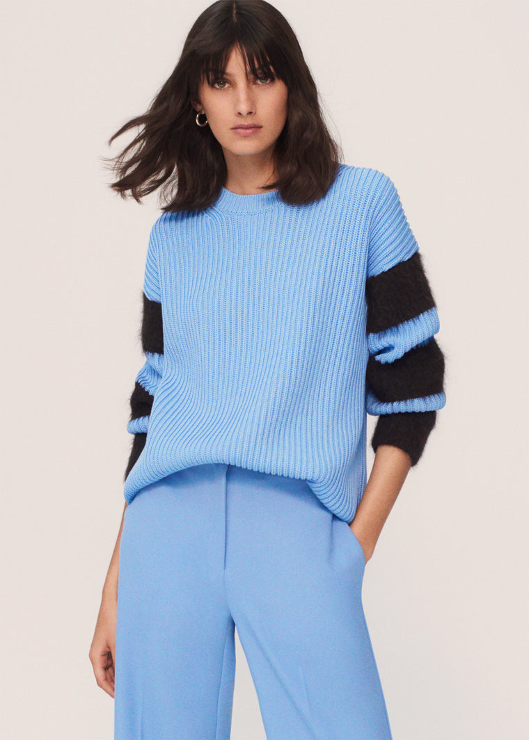 Sky-Blue Alpaca-Striped Chunky-Knit Cotton Sweater