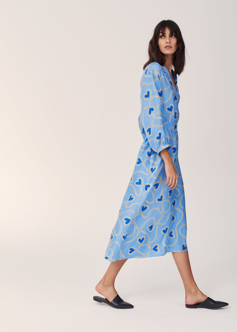 Sky-Blue Anni Heart Silk-Twill Dress