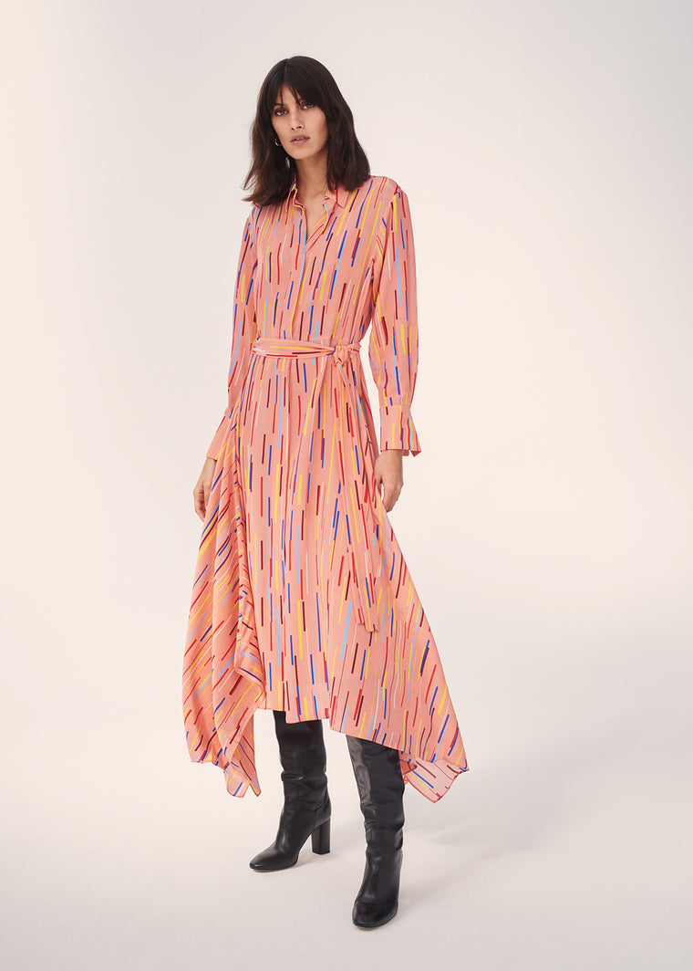 Dusty-Rose Verticals Silk Crepe De Chine Dress