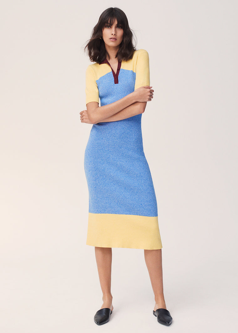 Sky-Blue Annilise Knitted Cotton Shirt Dress