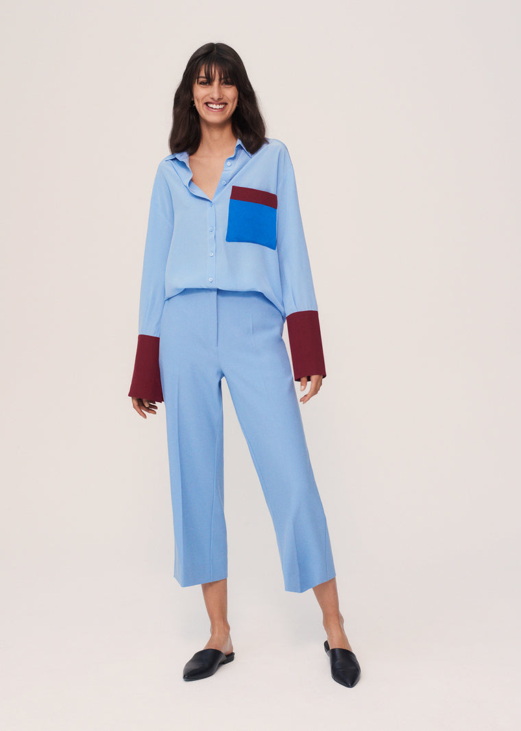Sky-Blue Colour-Block Silk Crepe De Chine Shirt