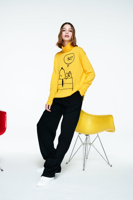 lookbook of soft yellow snoopy so cashmere sweater with a bold yellow hue and oversized and relaxed fit from Chinti & Parker