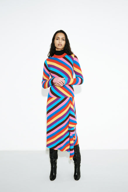 model shot of Bold statement multicoloured-rib-knit-cashmere-vanessa-sweater Knitted with a skinny rib From Chinti & Parker