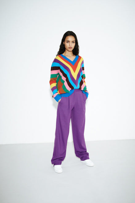 model shot of multicolour-virginia-striped-wool-cashmere-sweater slouchy-fit with intricate intarsia From Chinti & Parker