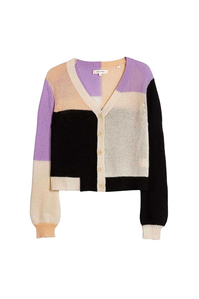 Lilac Colour Block Mohair-Wool Cardigan image 3