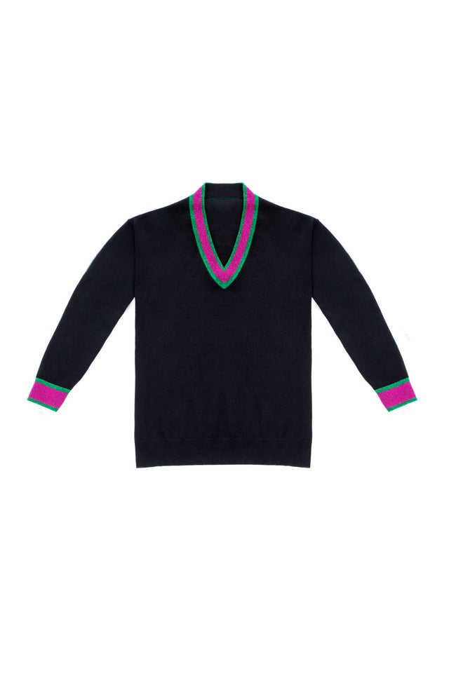 Black Lurex-Trimmed Cashmere Sweater image 2