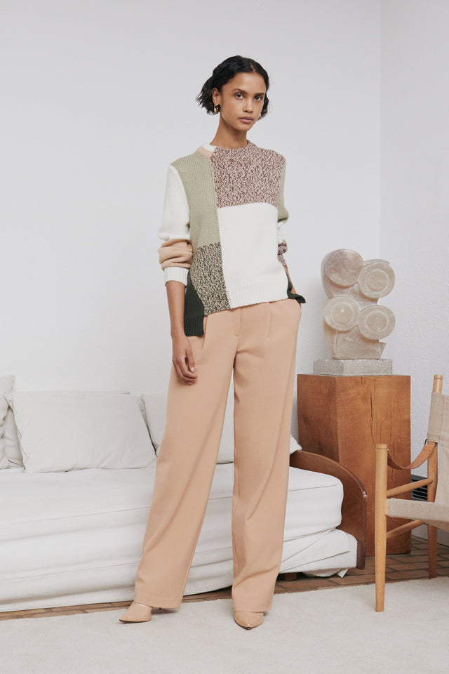 Stone Asymmetric Wool-Cashmere Sweater image 1