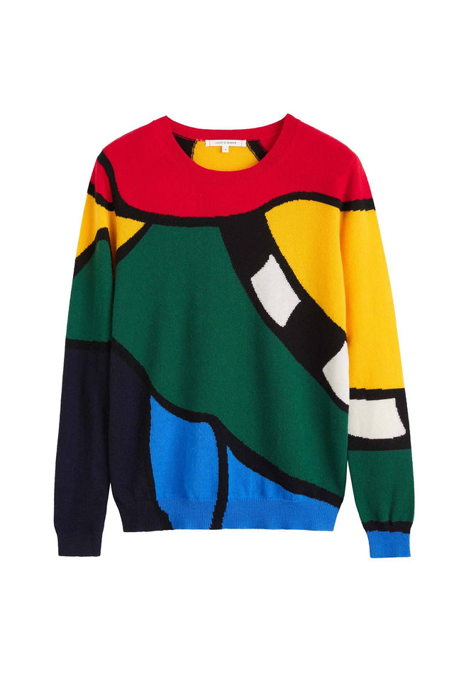 Multi-Colour Abstract Majestic Cashmere Sweater image 2