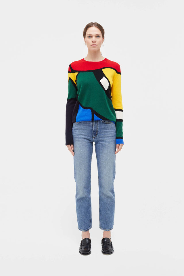 Multi-Colour Abstract Majestic Cashmere Sweater image 3