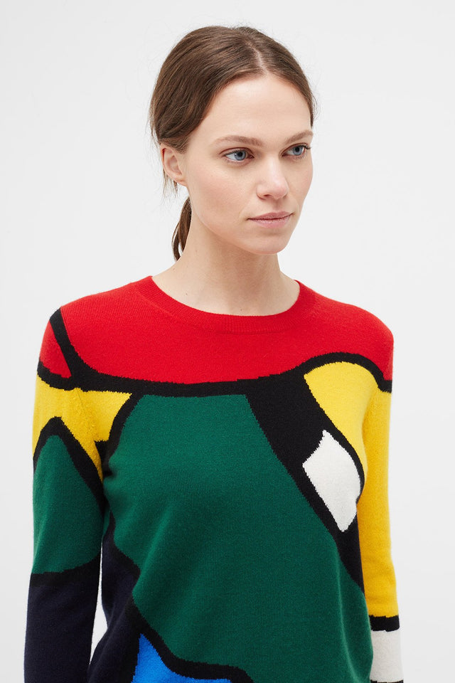 Multi-Colour Abstract Majestic Cashmere Sweater image 1