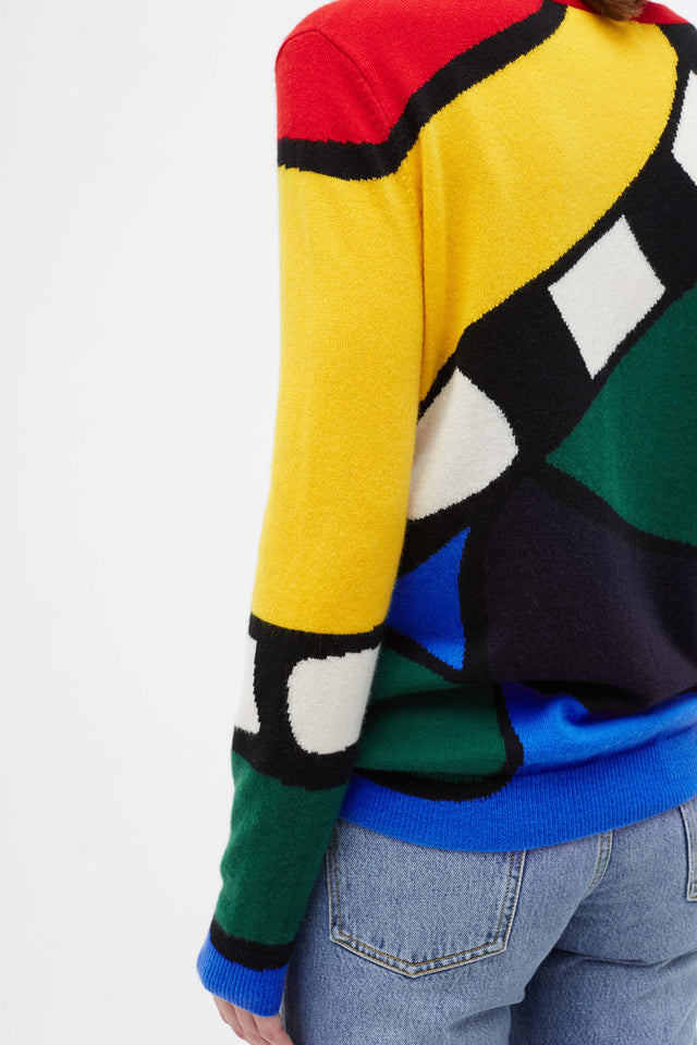 Multi-Colour Abstract Majestic Cashmere Sweater image 4