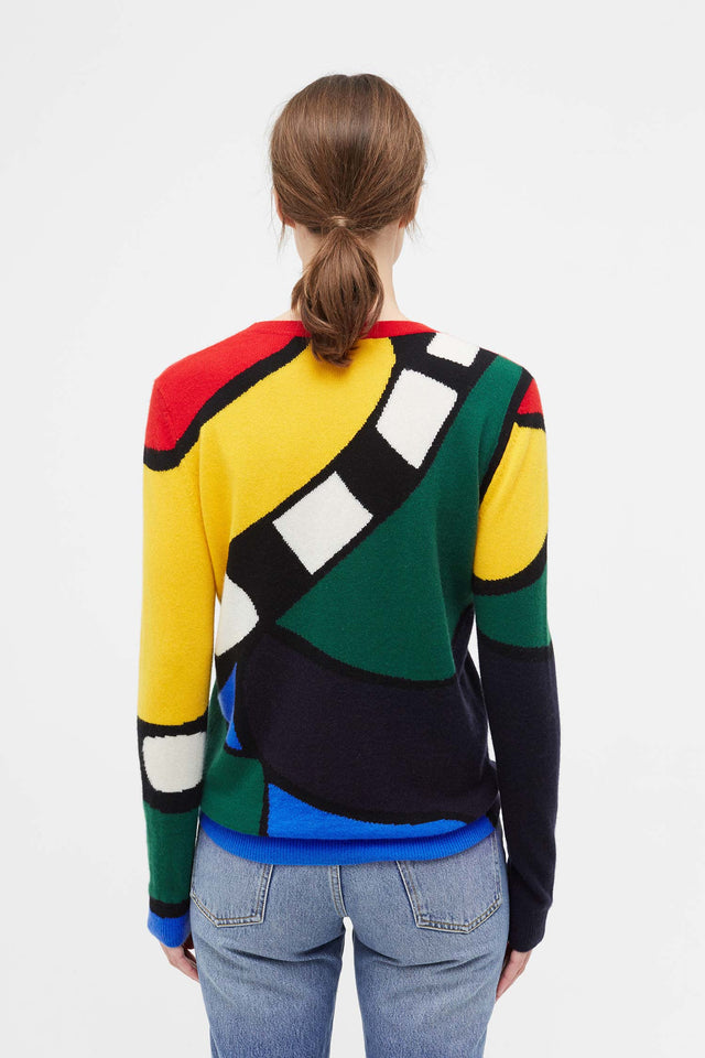 Multi-Colour Abstract Majestic Cashmere Sweater image 5