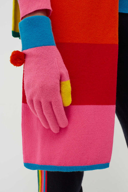 Chinti & Parker colour block wool cashmere ski gloves to tive your cold weather look a bright boost