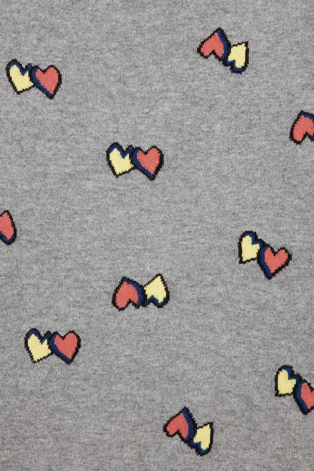 Grey All Over Twin Heart Sweater image 2