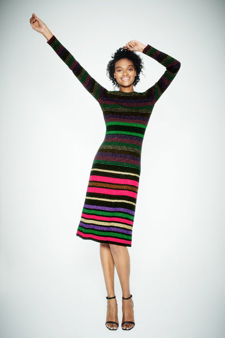 Black Lurex Striped Merino Wool Dress