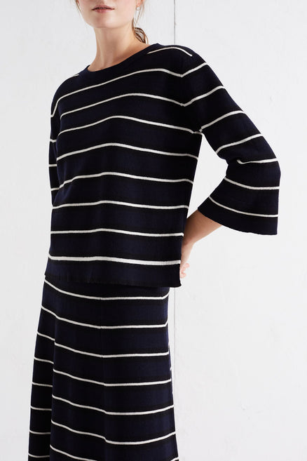 Navy Bell Sleeve Stripe Merino Sweater