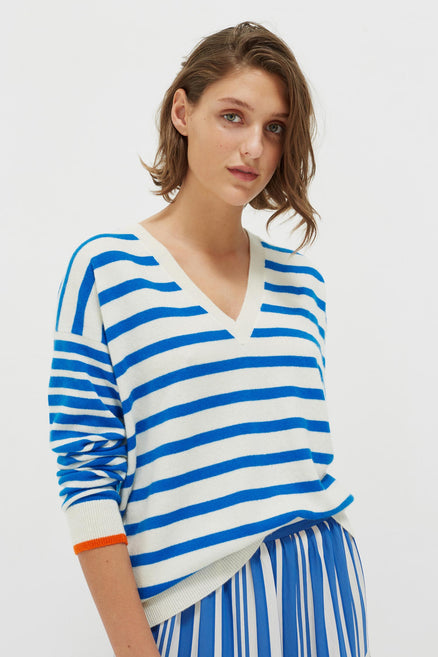 Blue Striped Cashmere V Neck Sweater