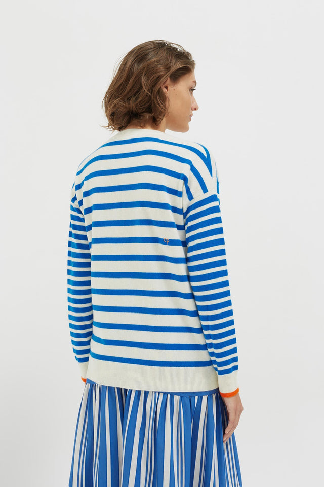 Blue Striped Cashmere V Neck Sweater image 3