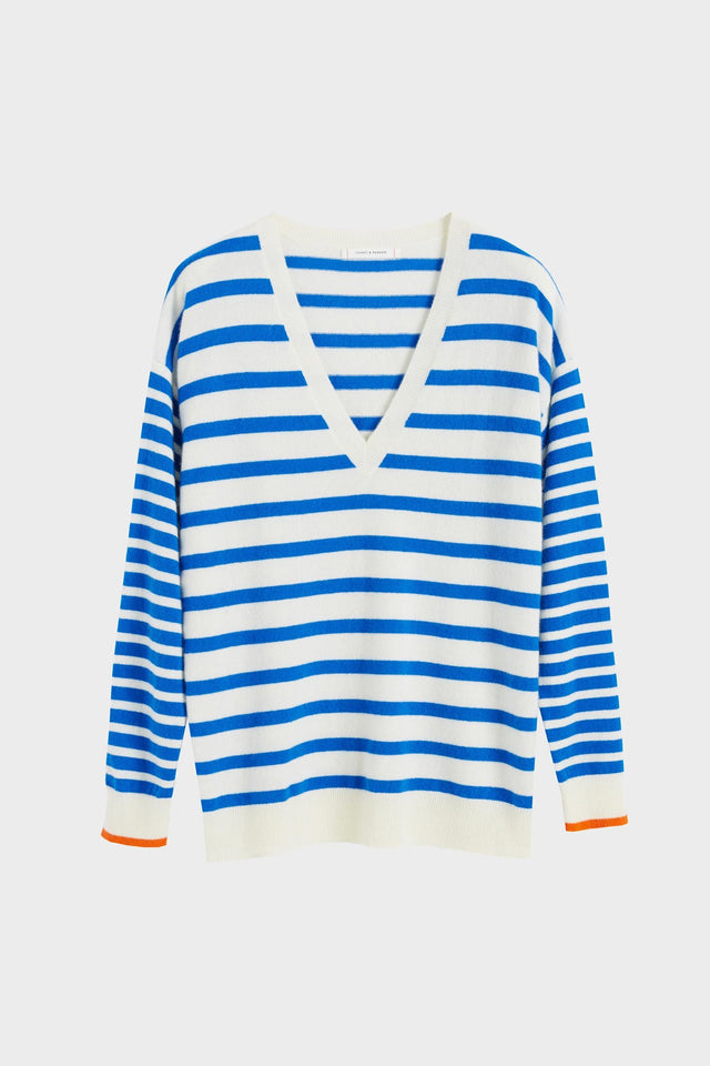 Blue Striped Cashmere V Neck Sweater image 2