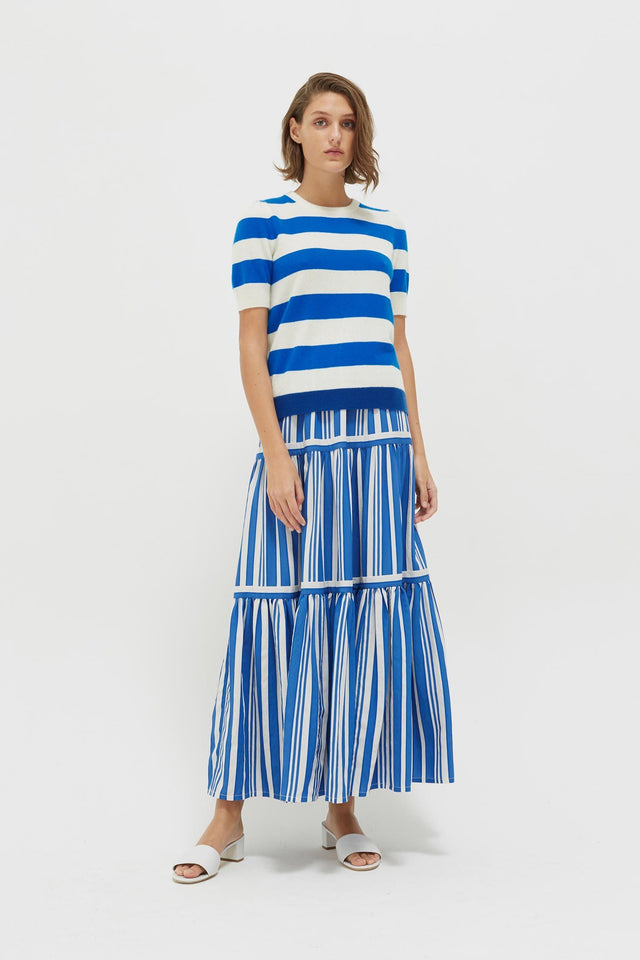 Blue Striped Jeanne Puff Sleeve T-Shirt image 4