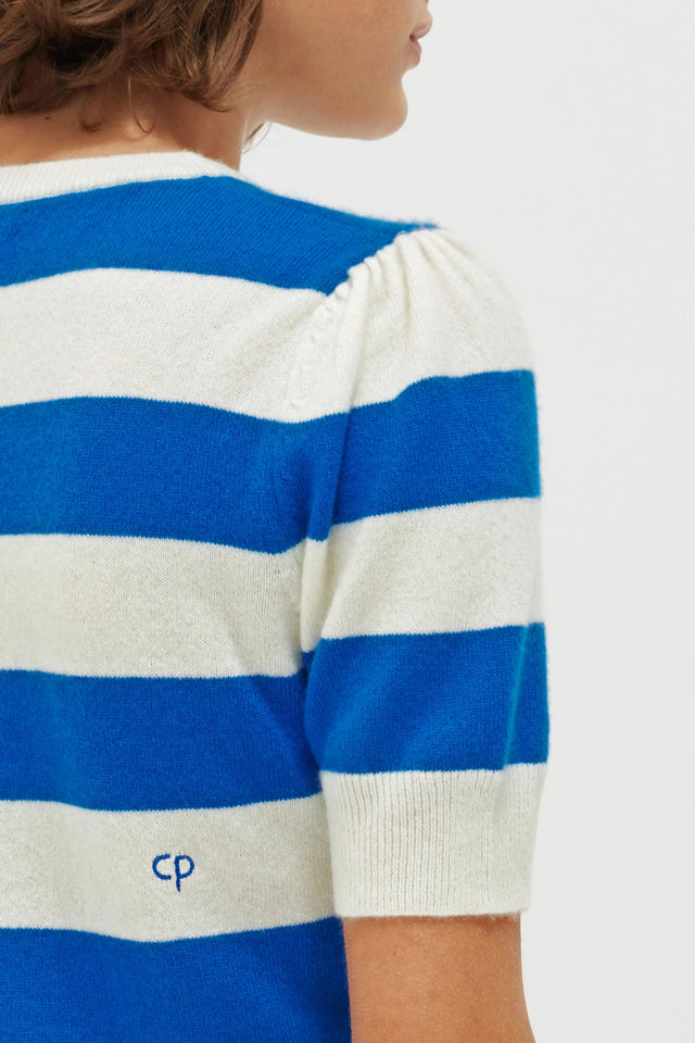 Blue Striped Jeanne Puff Sleeve T-Shirt image 5