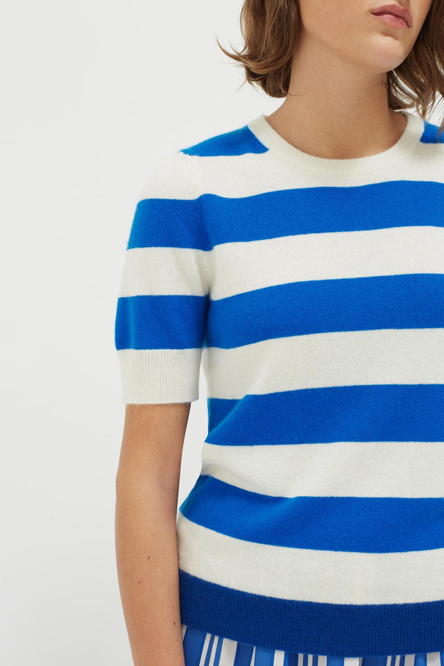 Blue Striped Jeanne Puff Sleeve T-Shirt image 7