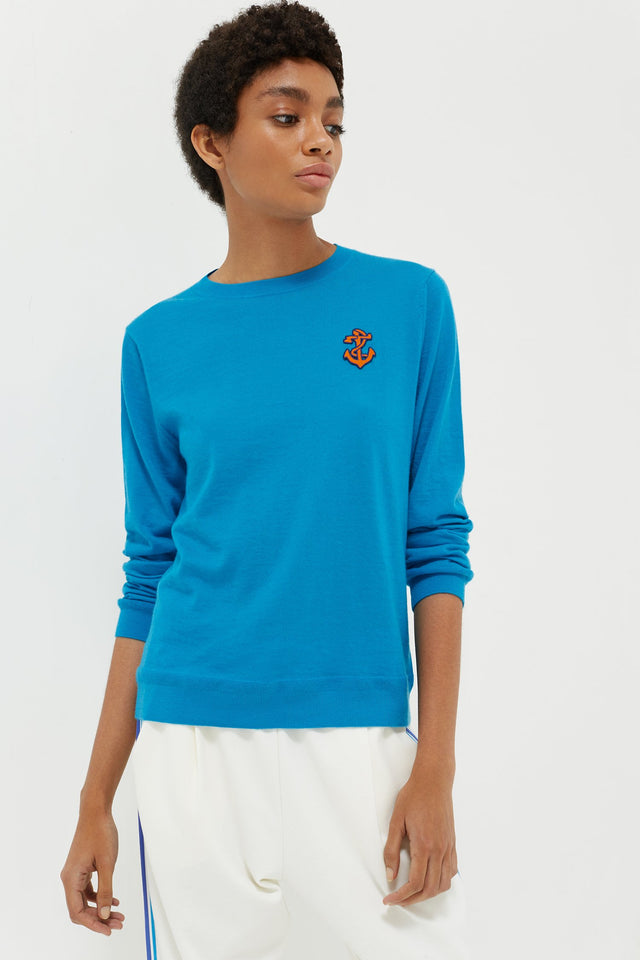 Blue Anchor Badge Cashmere Sweater image 1
